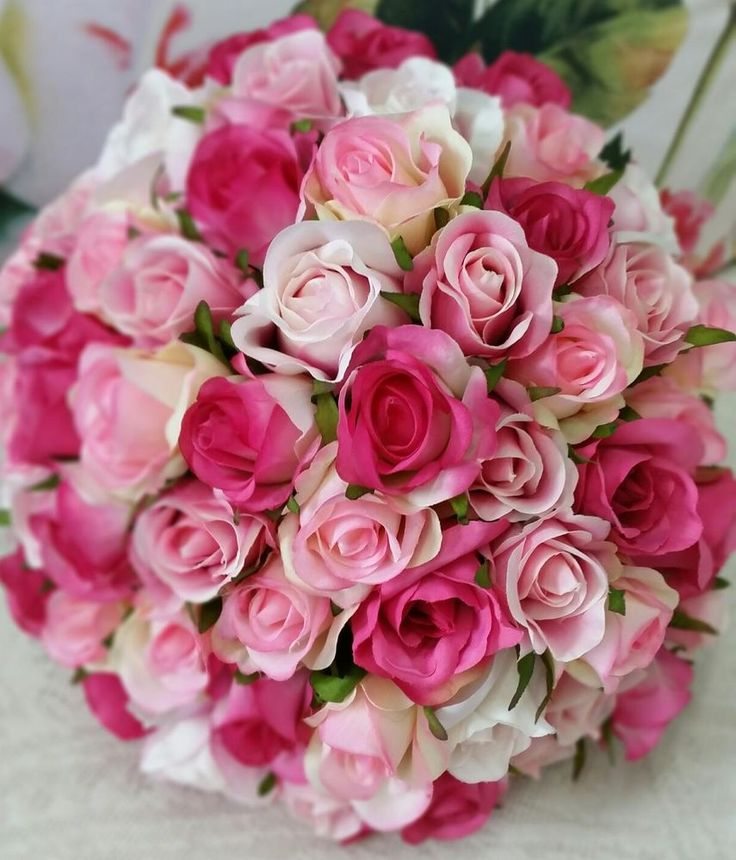 PINK TONED ROSE BUD BOUQUET GORGEOUS SHADES BRIDAL WEDDING BOUQUET