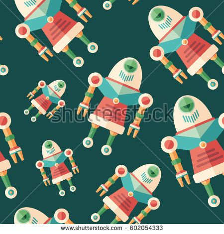 Robot nurse flat icon seamless pattern. #robots #robotics #vectorpattern #patterndesign #seamlesspattern