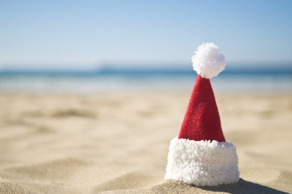 #beach #santa #hat #sand #Christmas #summer #hot