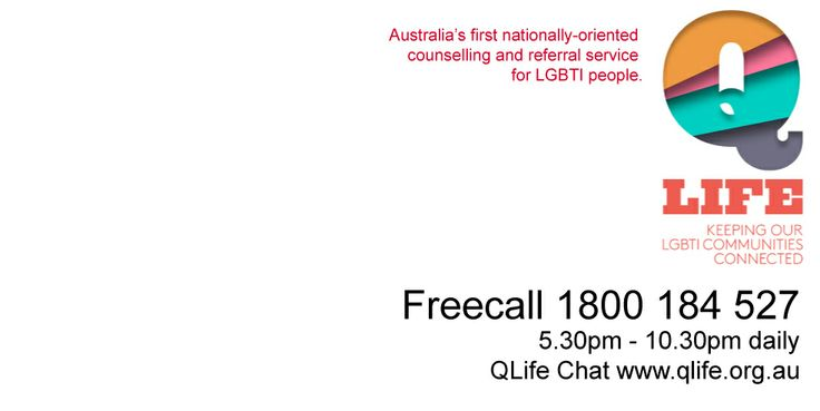 QLife provides a nation-wide, early intervention, peer supported telephone and web based services to diverse people of all ages experiencing poor mental health, psychological distress, social isolation, discrimination, experiences of being misgendered and/or other social determinants that impact on their health and wellbeing.We help callers with a range of issues relating to sexuality and gender.