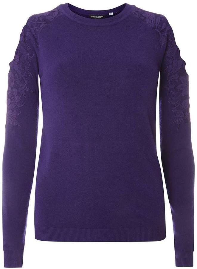 Dorothy Perkins Purple Lace Cold Shoulder Jumper