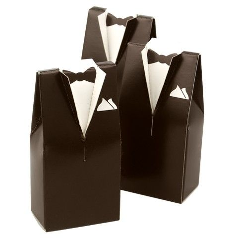 Brown Tuxedo Favor Boxes - 25ct - bachelor party or wedding favors (($))