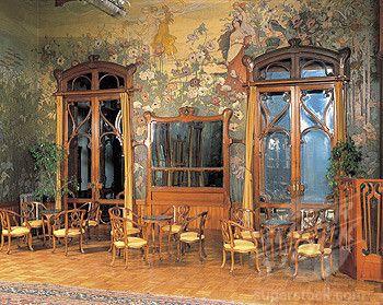 interiors of the hall of a grand hotel, villa igea, palermo, sicily, italy