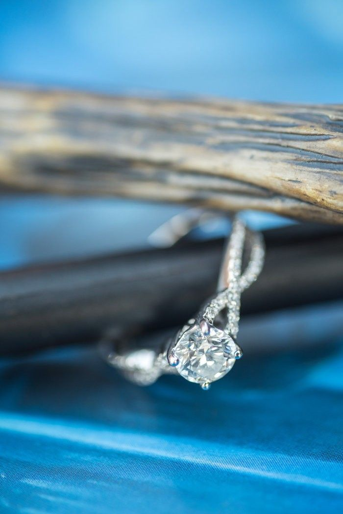 How gorgeous is the twisted pave band on this sparkly engagement ring? I'd definitely say yes!