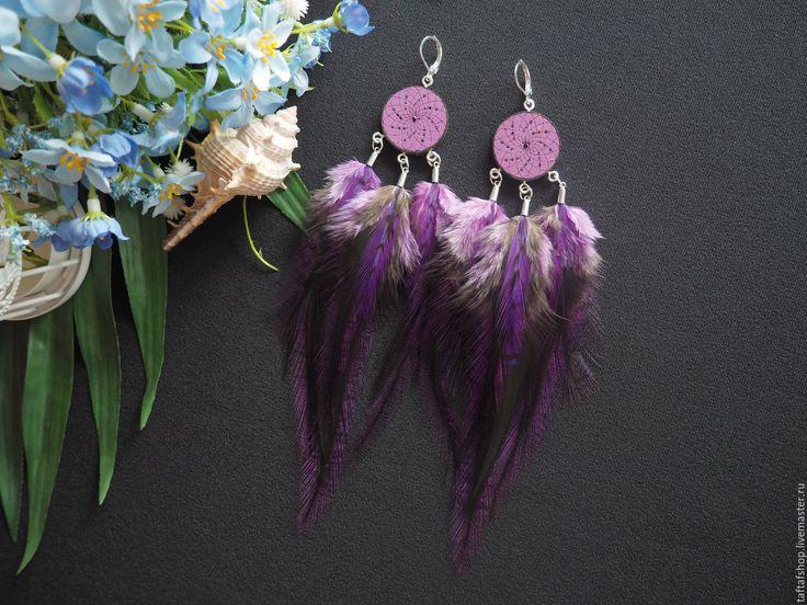 Сливовое дерево - фиолетовые серьги с перьями бохо с ловцом снов - серьги с перьями