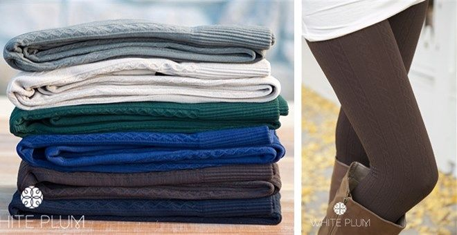 White Plum's Cable Knit Fleece Lined Leggings! 6 Colors Available!