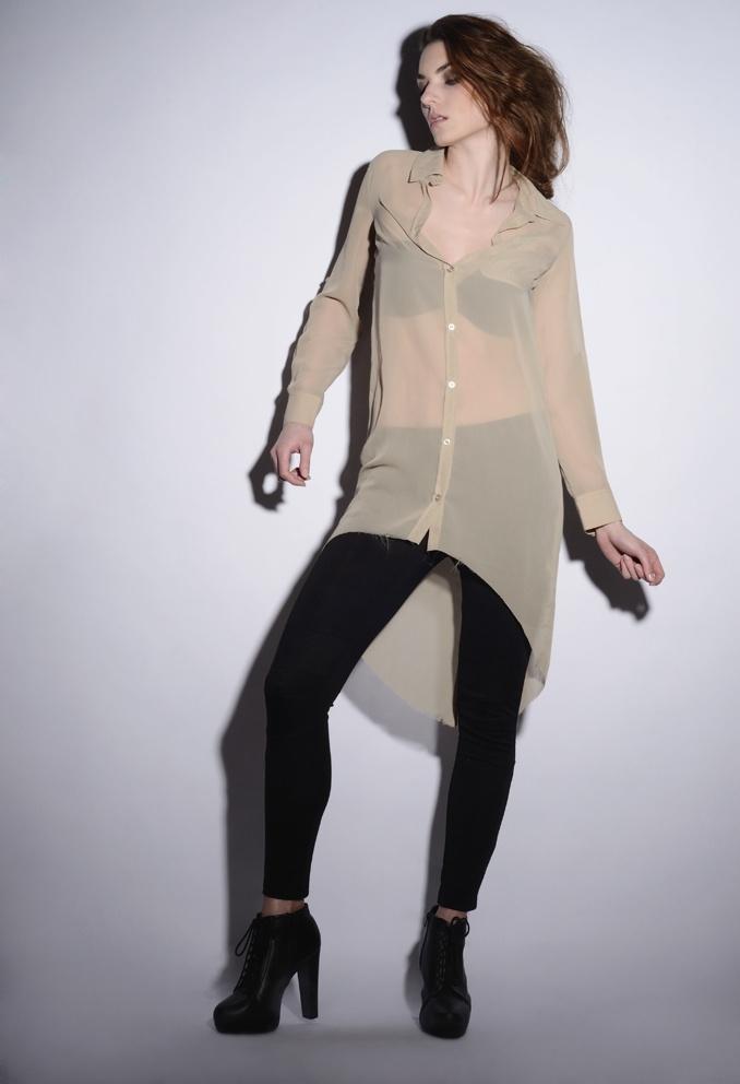 wawak/czajkowska  GIA GIA A/W 13/14 #long  #transparent  #shirt  #beige  #black  #leggins