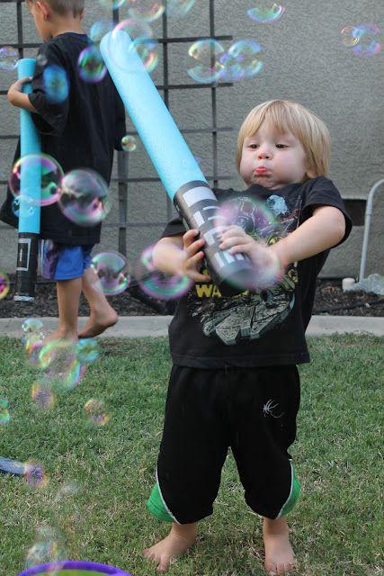 Star Wars Party - Pool Noodle Lightsaber- practice your light sabor skills on bubbles - more fun for older kids!