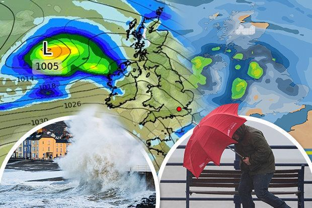 WX CHARTS/GETTY STORM ALERT: Britain is forecast to be battered by 80mph winds in parts this weekend  A volatile band of low pressure churning towards the UK from the Atlantic Ocean is threatening to develop into a named storm on Saturday morning. The Met Office has not issued any severe weather alerts, but forecasters have warned of 80mph gales in Scotland and northern England.