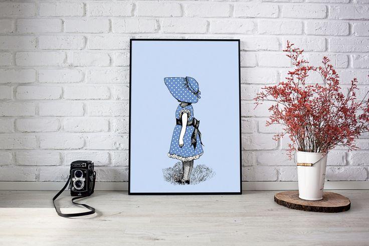 Little Girl Wearing a Bonnet, Kids Room Art, Vintage Illustration, Nursery Art, Printable, Blue and White Nursery, Handmade Item by FREDandMIMI on Etsy https://www.etsy.com/au/listing/498613206/little-girl-wearing-a-bonnet-kids-room