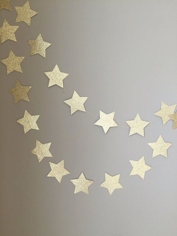 This twinkle twinkle little star gold glitter garland is sure to make any space feel festive! Whether it is for holiday decoration, special