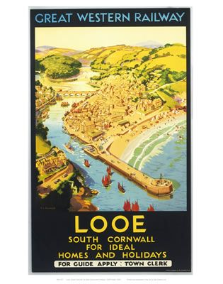 Looe, South Cornwall, England, UK. For Ideal Homes and Holidays. Vintage Rail Art. Buy Here: http://www.vintagerailposters.co.uk/Photo/399-Looe-south-Cornwall#.Uuk8Gfl_tqU