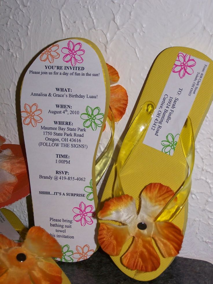 25 best ideas about Beach party invitations – Flip Flop Party Invitations