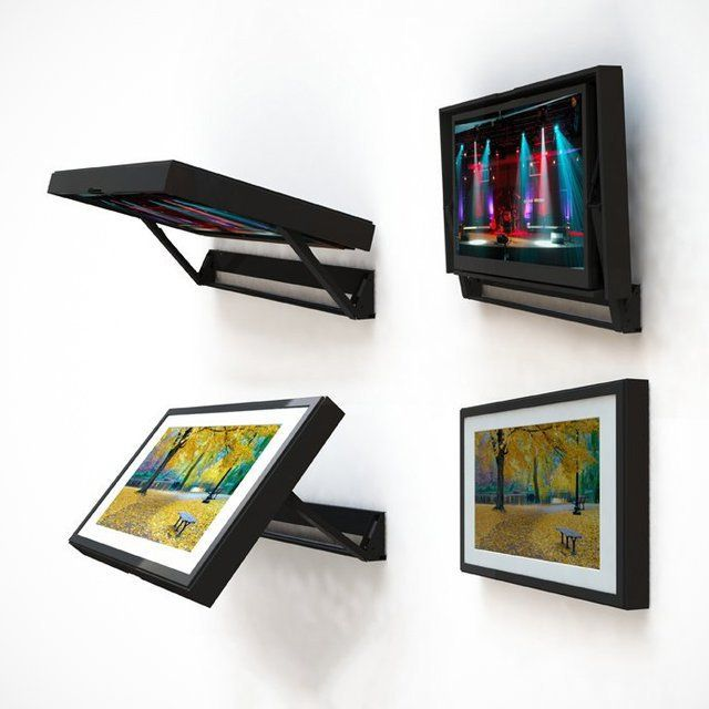 The Flip-Around TV mount is designed to Hide your TV behind a frame and Picture∕Mirror allowing you to watch your TV with a flip of your frame. The Smooth 180 degree flip is a simple way to hide your TV. With a picture frame on one side and a TV on the other, the transition from a dinner party to a Super Bowl party can happen in an instant. #HideTV http:∕∕fancy.to∕dq77v2