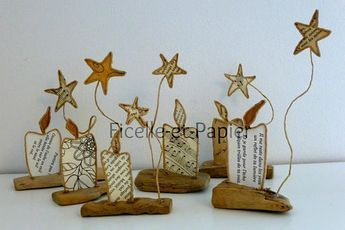 Decorative Christmas candles stars subjects lights string paper, decoration party, wire reinforced kraft iron table guest gift Driftwood