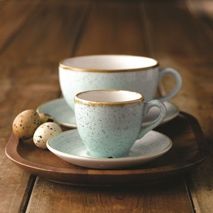 Churchill Stonecast Duck Egg Blue Espresso & Cappuccino Cups