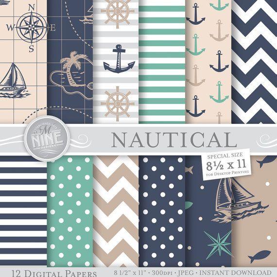 Nautical digital paper 8 12 x 11 neutral blue etsy