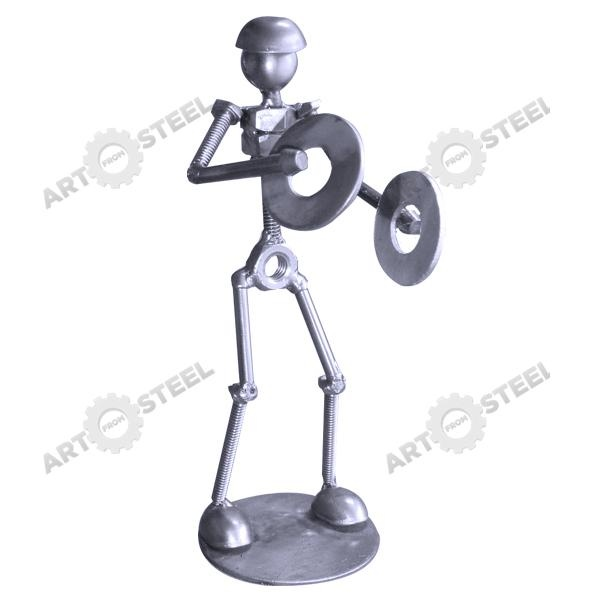 This model is made out of wires, nuts, bolts, and hand-shaped steel plates. Those two cymbals are actually washers. Those musically inclined or fond of brass bands will find this figurine charming.  $14.99