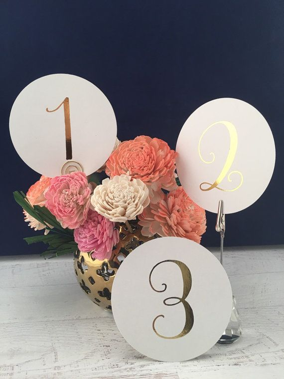Round Table Numbers - Table Markers - Wedding Table Decor - Gold Table Decor - White Table Markers - Gold Foil Table Markers - Gold Wedding