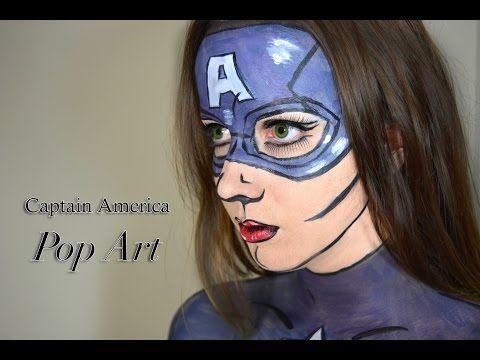 Captain America - Pop Art/ Comic book Costume Makeup Tutorial - YouTube