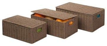 Parchment Cord Set Of 3 Boxes contemporary-storage-boxes