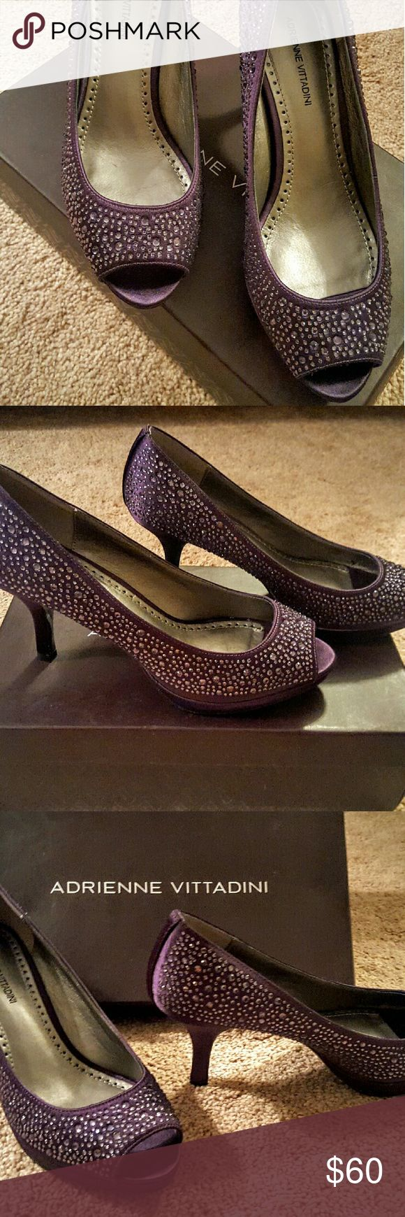 Adrienne Vittadini purple satin heels Peep toe Purple satin heels with crystals. Brand new, never worn! Excellent condition. 3 inch heels Adrienne Vittadini Shoes Heels