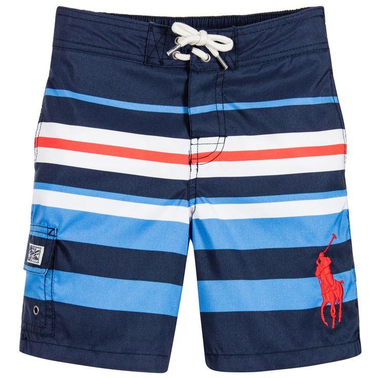 Ralph Lauren Boys Blue Striped Swim Shorts at Childrensalon.com
