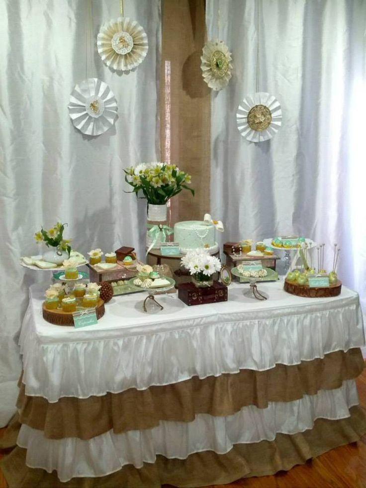 Rustic mint gold baptism party princesses tiaras