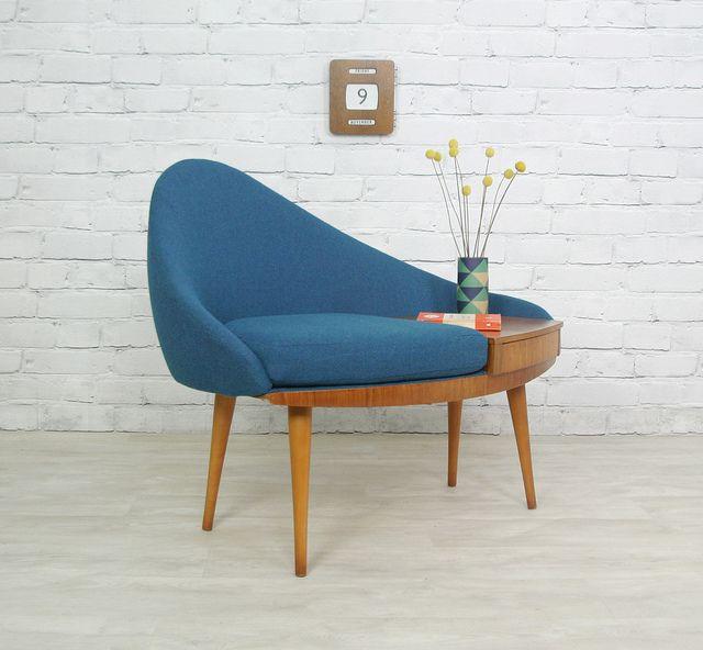 Vintage 1960s Telephone seat. New upholstery. whoa