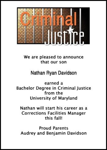 add a graduate photo to your criminology cell bars invitation cards and criminal justice announcements for criminal justice and criminologist school graduations with wordings at http://www.cardsshoppe.com/graduation-wording-law-enforcement-criminal-justice-paralegal-legal-assistant.htm