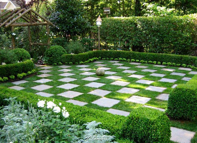 Korean Landscape Garden : Patio surrounded by korean boxwood hedges and white perennial gardens