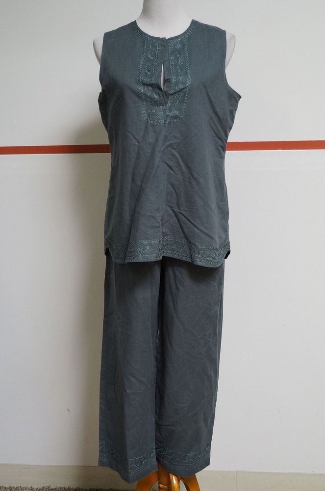 RELATIVITY Green Gray Sleeveless Lined Top Elastic Waist Pants Suit Sz L #17789 #Relativity #PantSuit