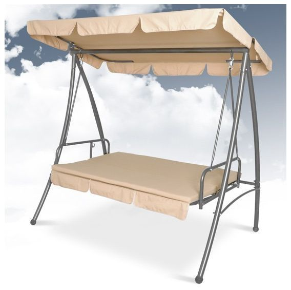 Garden swing bed with sun canopy 3 seat outdoor patio #porch #furniture - #beige ,  View more on the LINK: 	http://www.zeppy.io/product/gb/2/121984612911/
