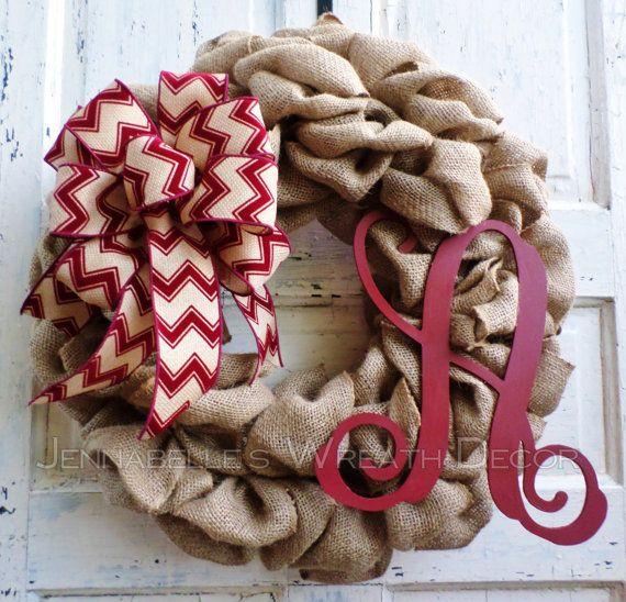 Burlap Wreath Painted Vine Monogram Letter Burgundy by JennaBelles