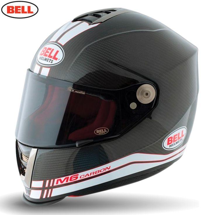 Bell M6 Carbon Motorcycle Helmet - Carbon Race White - 2014 Bell Road Helmets - 2014 Bell Moto & Road Helmets - 2014