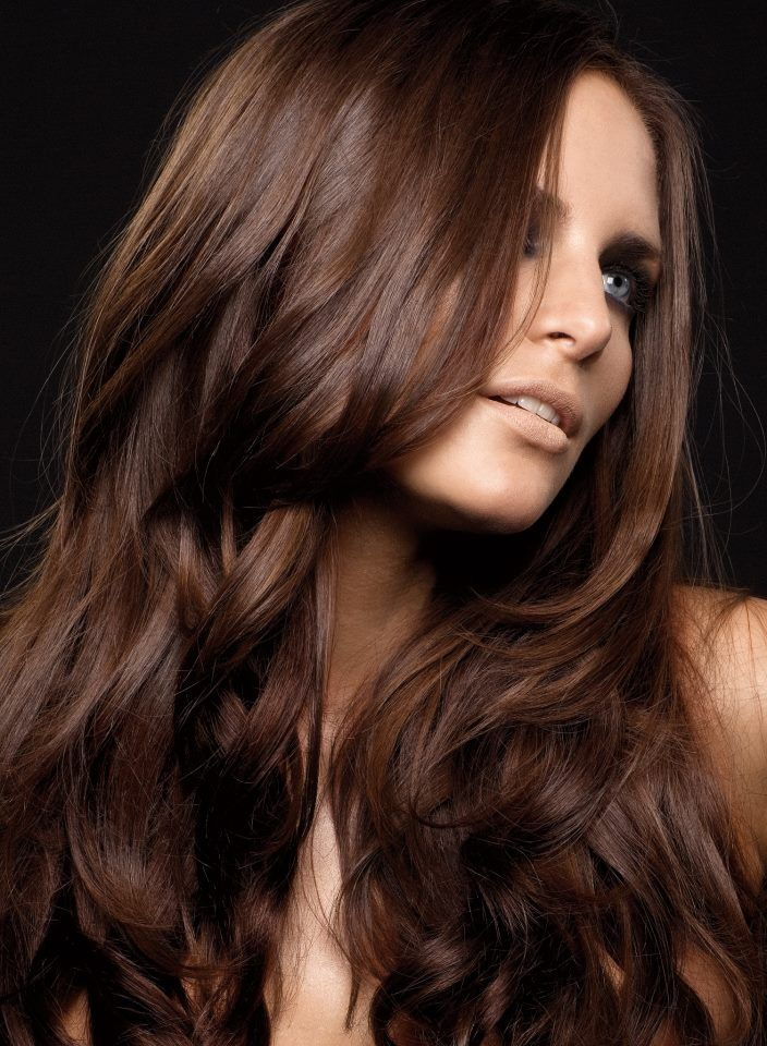 Chocolate #Brown and great use of #highlights. When you start with Aloxxi Hair #Color you are using the best. The results prove it. www.desertviking.com.
