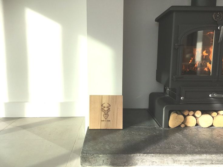 Sand and Sawn Polished Concrete Modern Hearth in Graphite