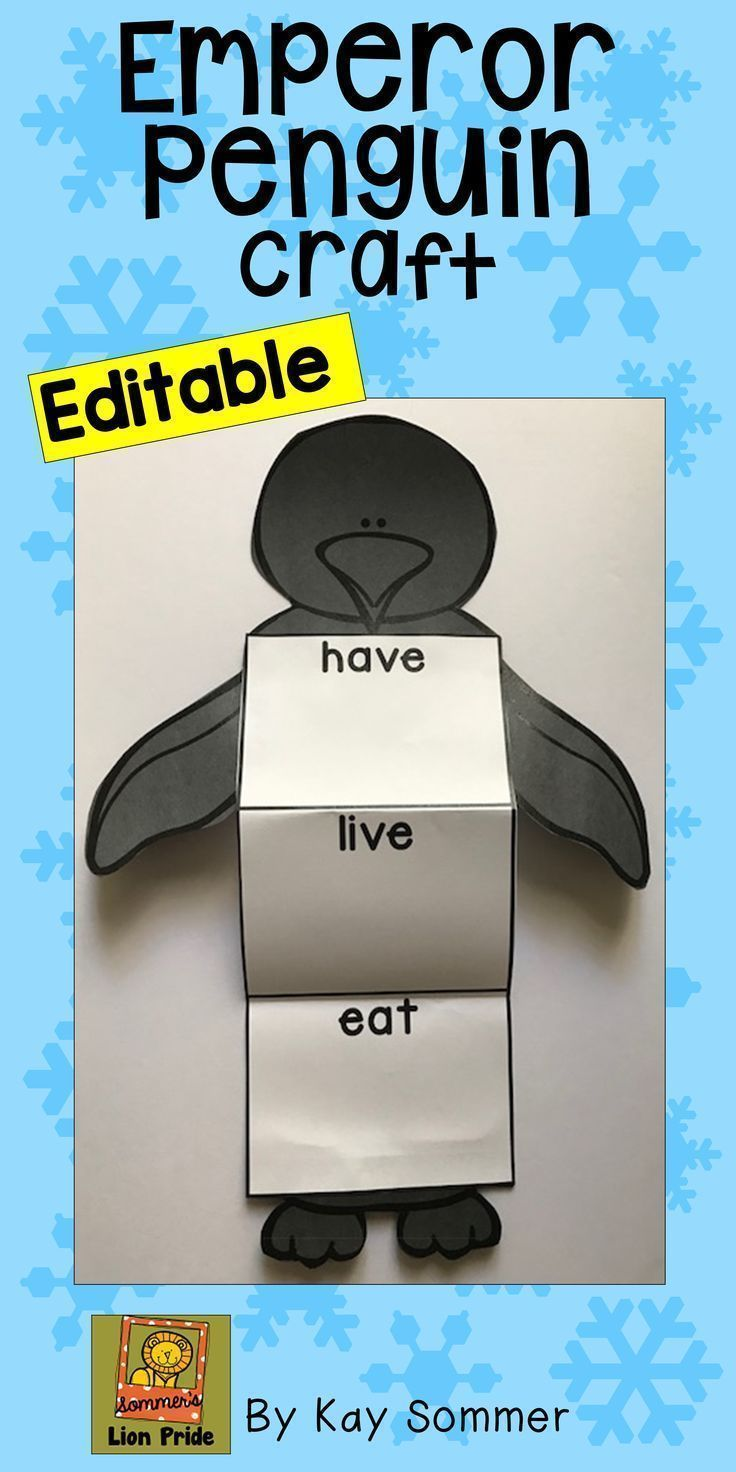 Make this fun and easy craft when learning about Emperor Penguins!  Students can record facts or draw pictures in the graphic organizer table!  Editable!