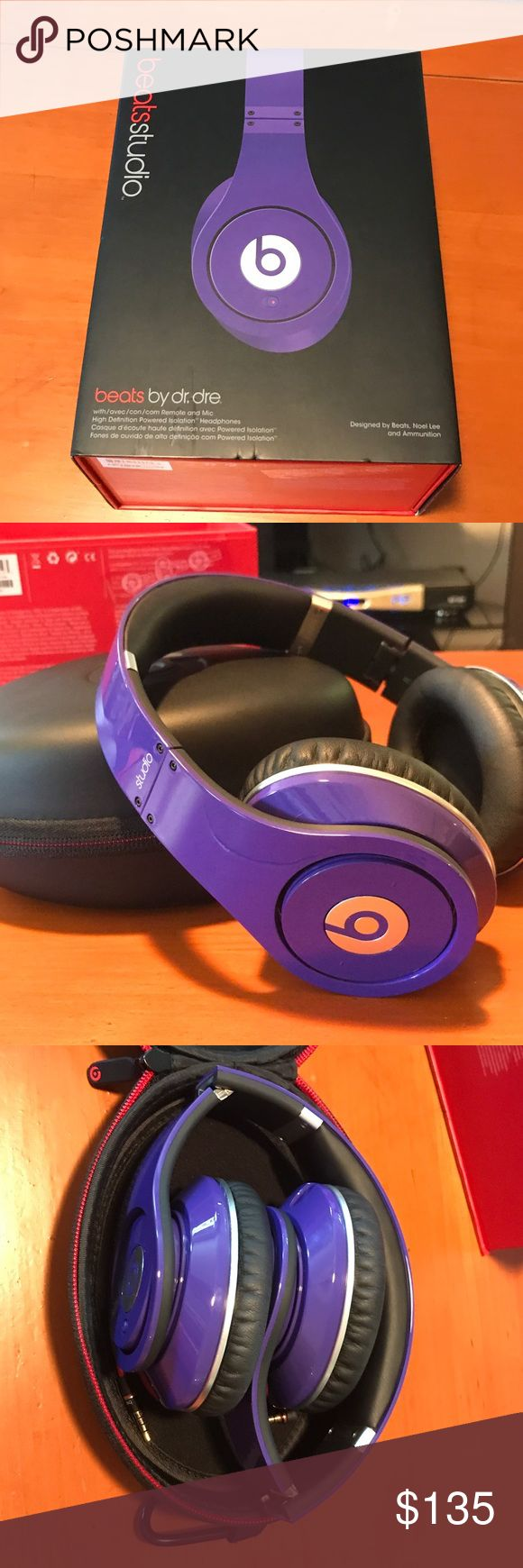 Purple beats studio headphones These limited edition Purple over the ear beats headphones are just like new! Adjustable head piece for comfort while wearing the headphones and sound quality is unbelievable! Comes in original box with: beats booklets, headphone cord, extra AUZ piece, headphones case, and headphone cleaning cloth! Only used a handful of times, like brand new! Will include brand new batteries for purchase!! beats by dr. dre Other