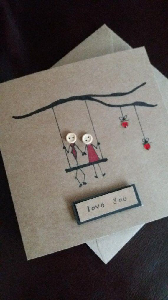 Geburtstagskarte Liebe romantische Hochzeit handgefertigt