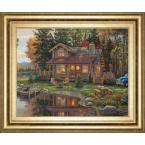 "22 in. x 26 in. ""Peace Like a River Cabin"" by KIM Norlien Framed Printed Wall Art"
