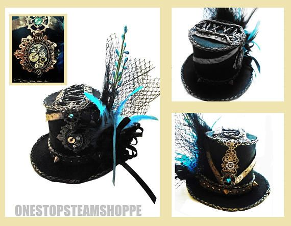 One of a kind handmade Steampunk Mini Black Top Hat #Cosplay #Hat #Steampunk #Tophat #MiniHat #SteampunkHat #BlackandBlue #Gears