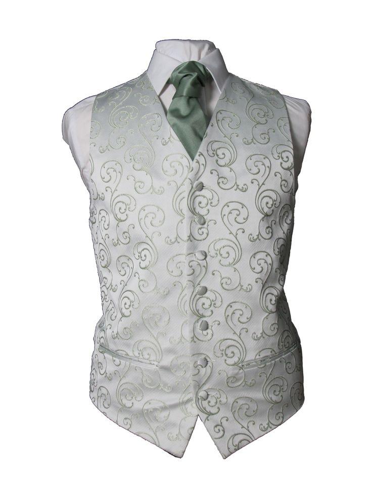 althorne sage green swirl wedding waistcoat Essex wedding waistcoats