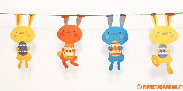 Sagome di coniglietti pasquali con uova già colorate da stampare, ritagliare ed utilizzare per decorazioni