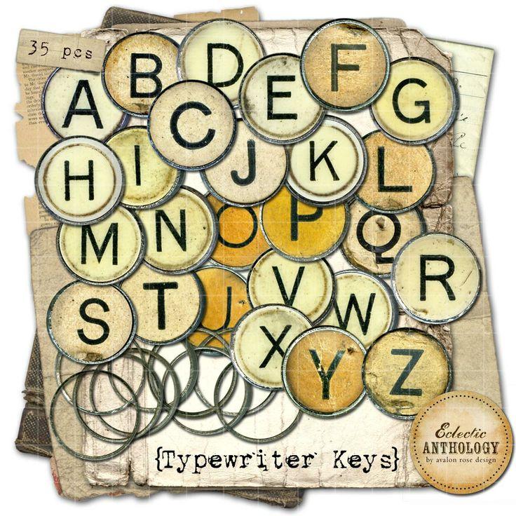 vintage royalty free typewriter key graphics