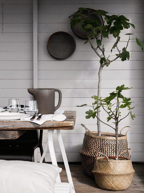De flätade korgarna FLÅDIS fixar stilen i det rustika uterummet, använd som ytterkrukor till stora fikon- eller olivträd eller förvaring av extra plädar och filtar till svala sommarkvällar.