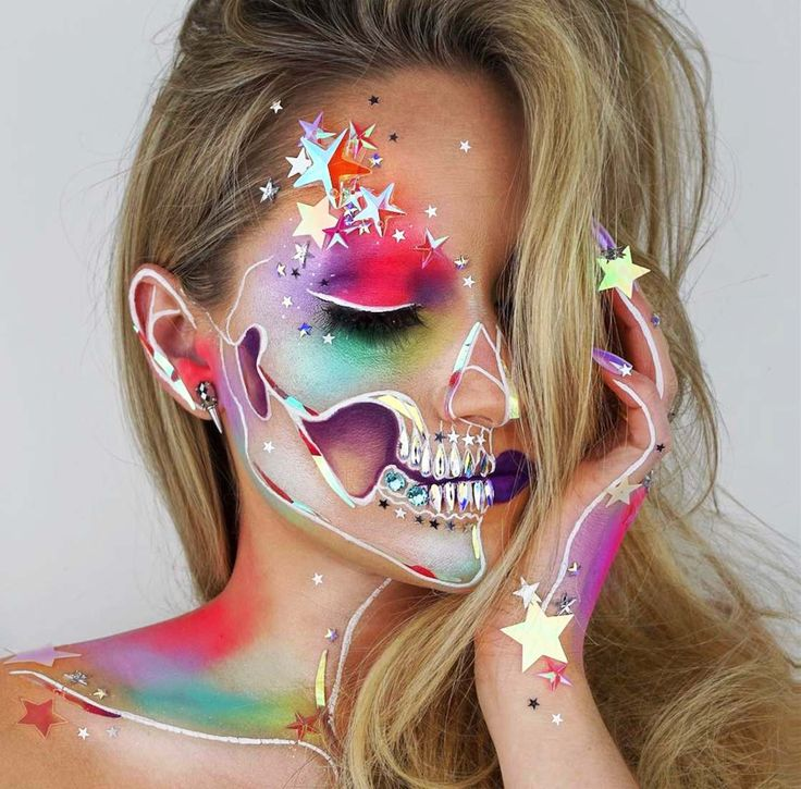 Skulltress-cráneo-cara pintura corporal-23