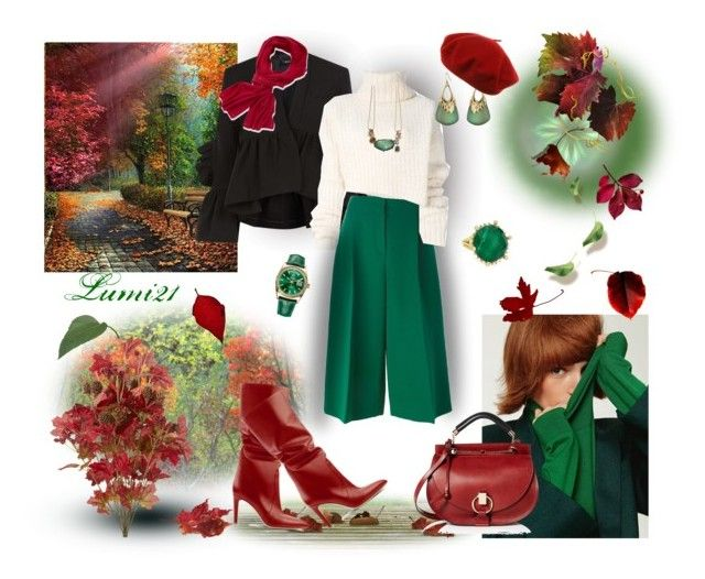 green autumn by lumi-21 on Polyvore featuring Ann Demeulemeester, Valentino, Chloé, Frederic Sage, Alexis Bittar, Portolano, Rachel Comey and FRANZI