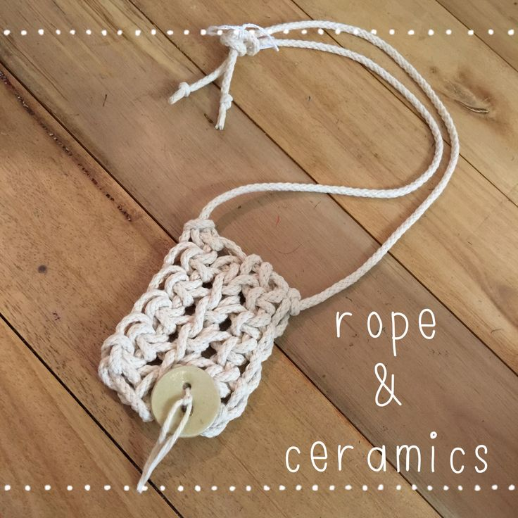 Rope and handmade ceramic button necklace.