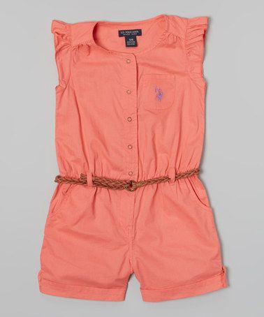 Another great find on #zulily! Calypso Peach Angel-Sleeve Romper - Infant, Toddler & Girls by U.S. Polo Assn. #zulilyfinds